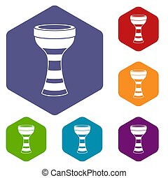 African drum icons set hexagon isolated  illustration