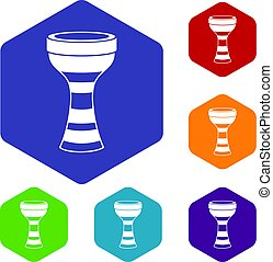 African drum icons set hexagon isolated vector illustration