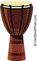 A djembe a rope tuned skin-covered goblet drum played with bare hands originally from West Africa produces a wide variety of sound vector color drawing or illustration
