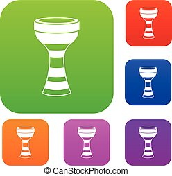 African drum set color collection - African drum set icon...