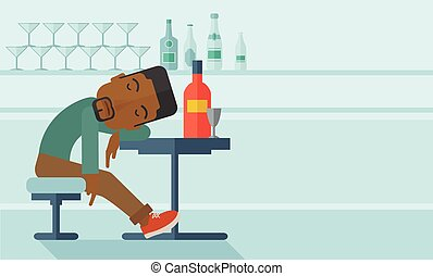 An african drunk man sitting fall asleep on the table with a bottle of beer inside the pub. Over drink concept. A contemporary style with pastel palette soft blue tinted background. Vector flat design illustration. Horizontal, layout with text space in right side.