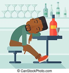 An african drunk man sitting fall asleep on the table with a bottle of beer inside the pub. Over drink concept. A contemporary style with pastel palette soft blue tinted background. Vector flat design illustration. Square layout
