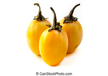 African eggplant (Solanum macrocarpon) on a white background