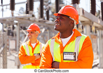 african electrical engineer in substation