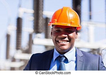 african electrical manager close up