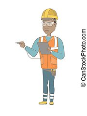 African electrician with electrical equipment. - Young...