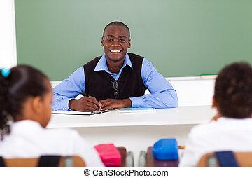 african elementary school teacher - african American...