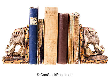 elephant shaped bookends isolated over a white background