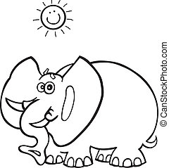 African elephant for coloring book - Illustration of funny...