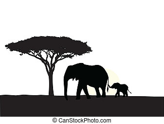 African elephant with baby silhouet - Vector Illustration Of...