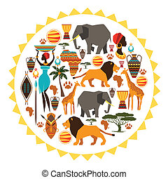African ethnic background in shape of sun stylized icons.