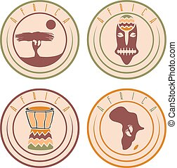 African ethnic culture ,music and nature labels set