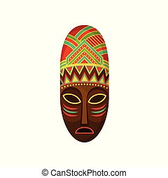 African ethnic tribal mask, authentic symbol of Africa with ethnic ornament vector Illustration on a white background