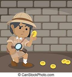 African explorer following coin trail