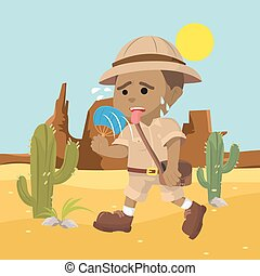 African explorer suffering from heat