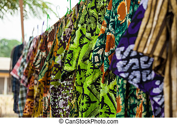 African shirts from traditional fabrics in Ghana, West Africa