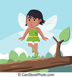 African fairy flying on branch