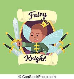 African Fairy knight in frame illustration design