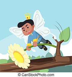 African fairy prince hold a flower