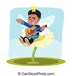 African fairy prince playing guitar on flower