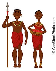 African family tribe members man warrior and housewife