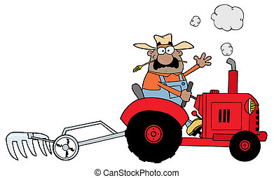 African Farmer Driving A Tractor