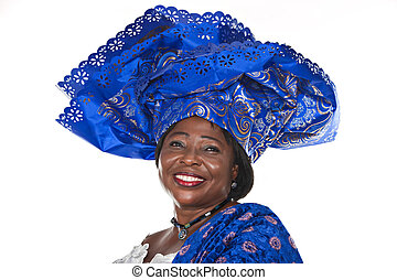 senior african woman in traditional Ghanaian clothes