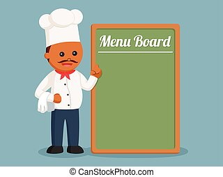 African fat chef with big menu board