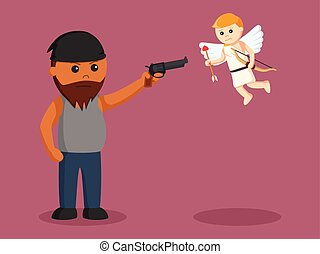 African fat man aiming gun to cupid