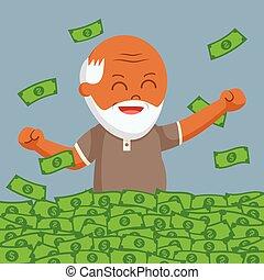 African fat old man enjoy is retirees money