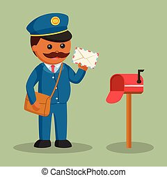 African fat postman with mailbox