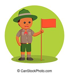 African fat scout boy with orange flag