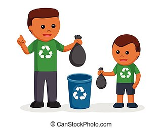 African father teaching his son to put litter to bin
