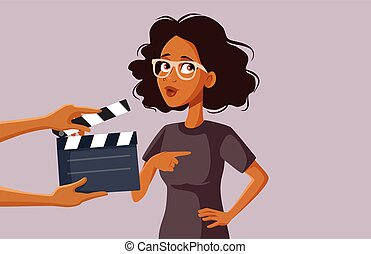 African Female Actor Filming on Set