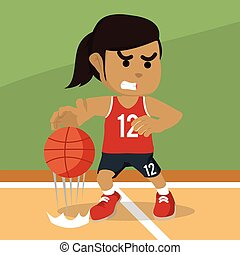 African female basketball player dribbling