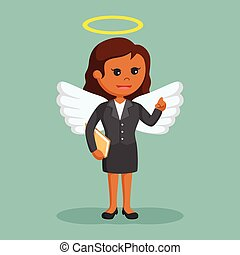 African female business angel with halo on her head
