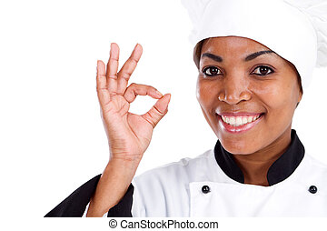 african female chef hand sign - african american female chef...