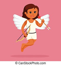 African female cupid with bow and arrow