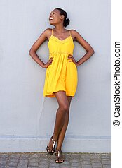African female fashion model smiling