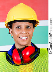 african female industrial worker closeup