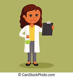 African female scientist with test tube and board