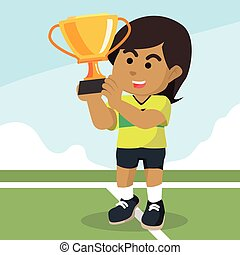 African female soccer player holding trophy