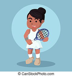 African female tennis player colorful