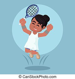 African female tennis player happy jumping