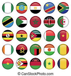 African Flags Round Icons, Zip includes 300 dpi JPG, Illustrator CS, EPS10. Vector with transparency.