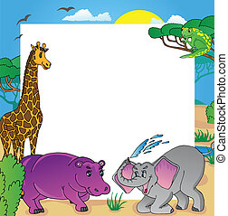 African frame with animals 02