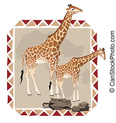 African Frame with Zebras