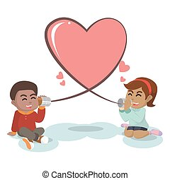african Girl and boy with string shaped heart