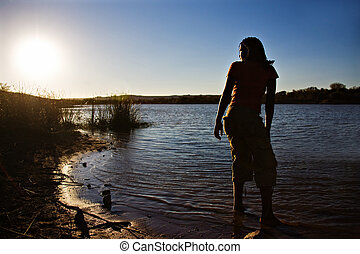 african girl at sunset