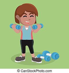 African Girl exercising with dumbell